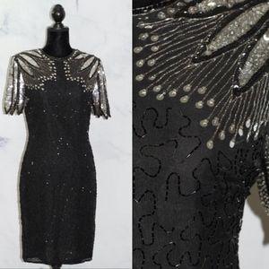 Handmade Black & Silver Sequin Beaded Sheath Dress